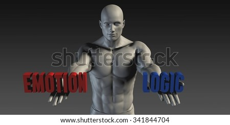 Emotion or Logic as a Versus Choice of Different Belief - stock photo