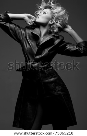 Emotion photo of a sexy woman in black and white