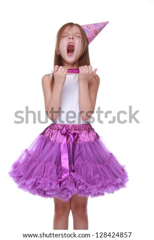 Emotion princess for christmas card isolated over white/Beautiful young girl wearing white top and bright purple tutu skirt