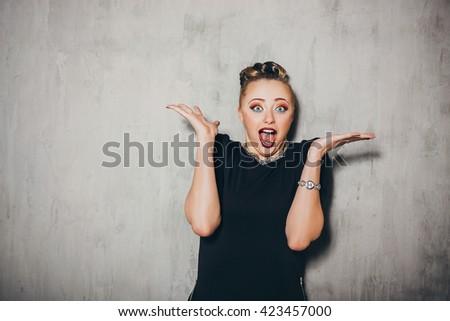 Emotion woman portrait. Woman secret. Surprised. Emotion concept - stock photo