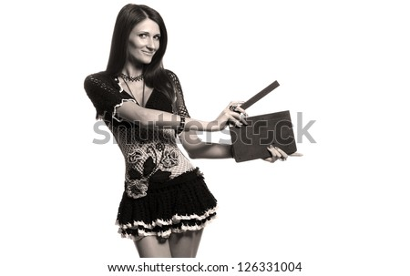 emotional beautiful girl with a photo studio equipment - stock photo