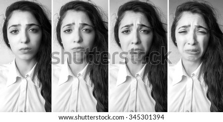Emotional beautiful young woman crying - stock photo