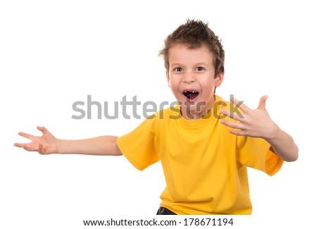 emotional boy portrait on white - stock photo