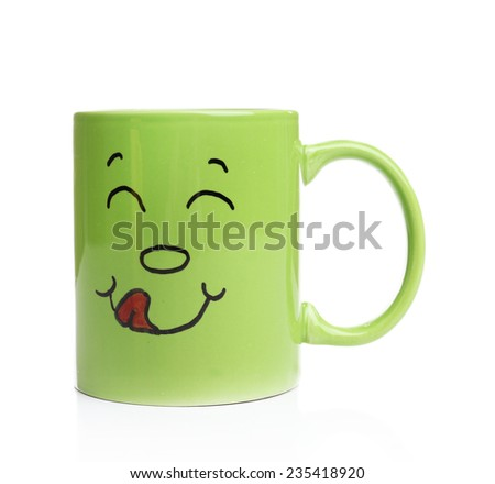 Emotional cup isolated on white - stock photo