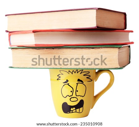 Emotional cup with books on it, isolated on white  - stock photo