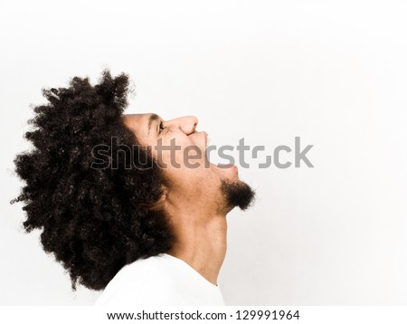 Emotional facial expression of man - thirsty - stock photo