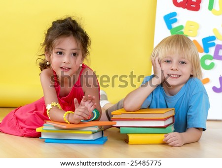 Emotional friends with books - stock photo