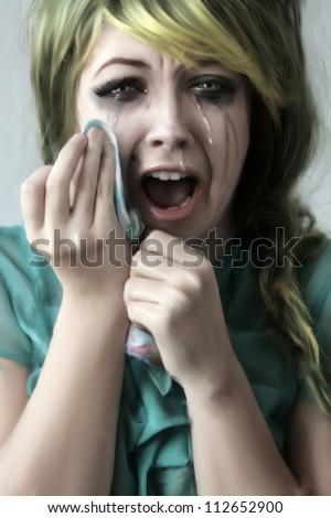 Emotional girl cries - stock photo