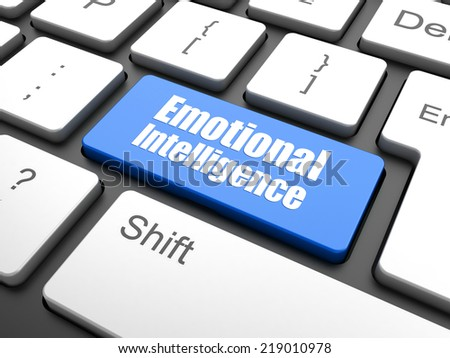 Emotional Intelligence Concept. White Button on Blue Background in Flat Design Style. - stock photo