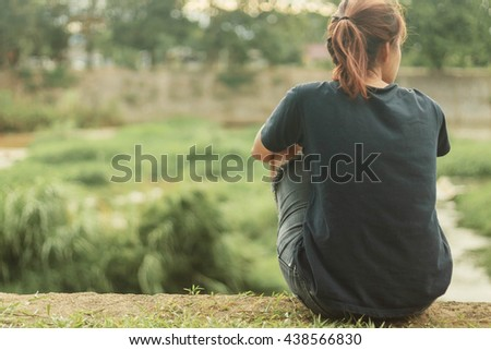 emotional loneliness , heartbroken , alone on background - stock photo