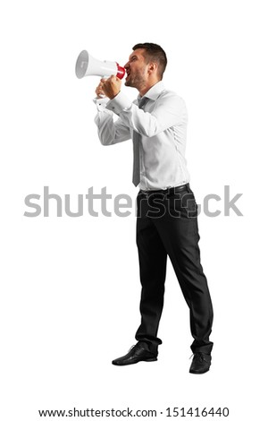 emotional man with megaphone looking up. isolated on white background