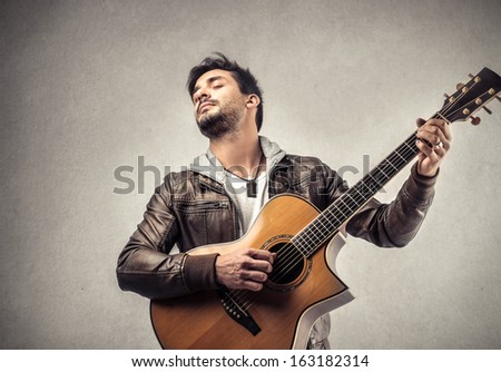Emotional Musician - stock photo