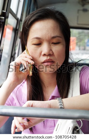 emotional of woman in busy - stock photo