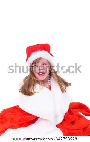 Emotional portrait of a cheerful girl in red dress. New Year soon - stock photo