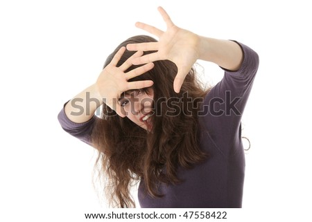 Emotional portrait of abused, beautiful, teen ,caucasian woman in underwear - violence concept, high emotional - stock photo