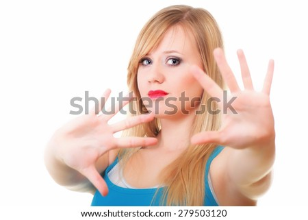 Emotional portrait of abused beautiful young blonde woman violence concept - stock photo