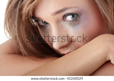Emotional portrait of abused, crying, beautiful, young ,caucasian woman in underwear - violence concept