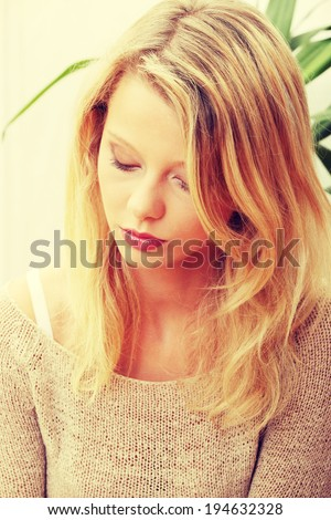 Emotional portrait of abused teen woman- violence concept - stock photo