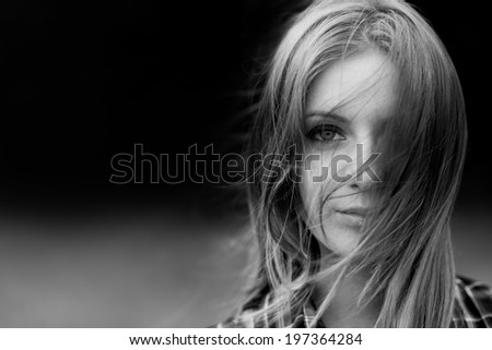 emotional portrait of woman - stock photo