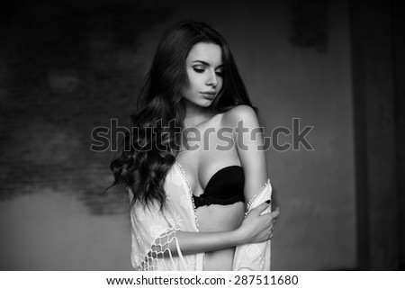 Emotional portrait of young beautiful pretty girl. Stylish fashion dramatic portrait - stock photo