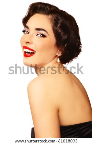 Emotional portrait of young beautiful sexy stylish laughing woman, on white background - stock photo