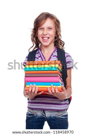 emotional schoolgirl holding books. isolated on white background - stock photo