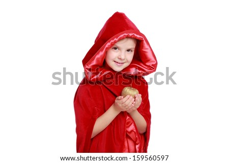 Emotional smiling girl dressed as Little Red Riding Hood isolated on a white/Beautiful child in a bright red cloak on Holiday