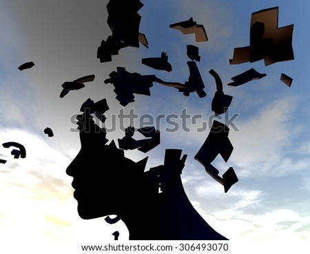 Emotional stress and headache concept with shattered human face. - stock photo