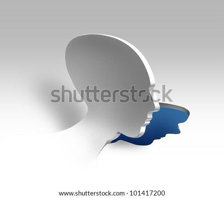 Emotional stress and mental illness concept with a human head being peeled off from a surface as a psychiatric and psychology symbol for the study of behavior and the mind depression symptoms. - stock photo