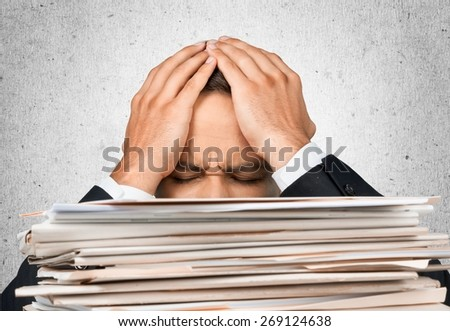 Emotional Stress, Paper, Stack. - stock photo