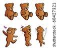 emotional teddy bears illustration - stock