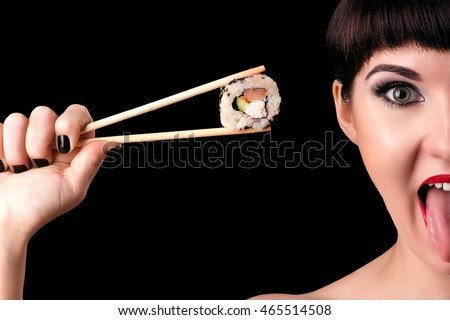 emotional woman face with roll in hand