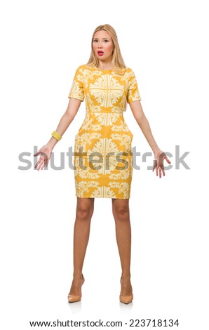 Emotional woman isolated on the white - stock photo
