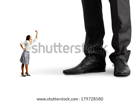 emotional woman screaming at big man over white background - stock photo