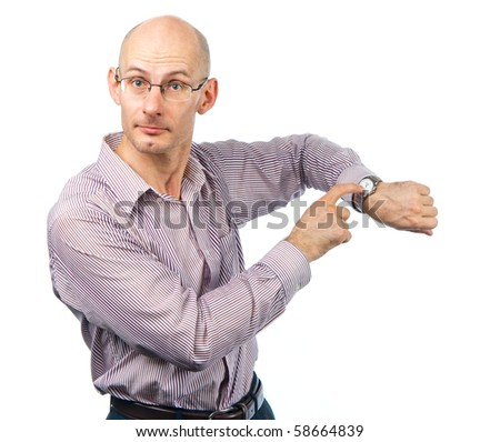 Emotional young man shows at wristwatches - stock photo