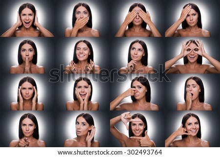 Emotions and gestures. Collage of beautiful young shitless woman expressing diverse emotions and gesturing while standing against grey background