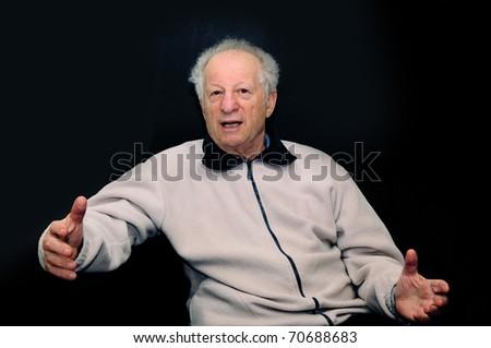 Emotions elderly man - stock photo