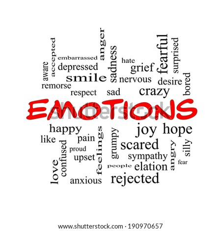 Emotions Word Cloud Concept in red caps with great terms such as sad, happy, joy and more.