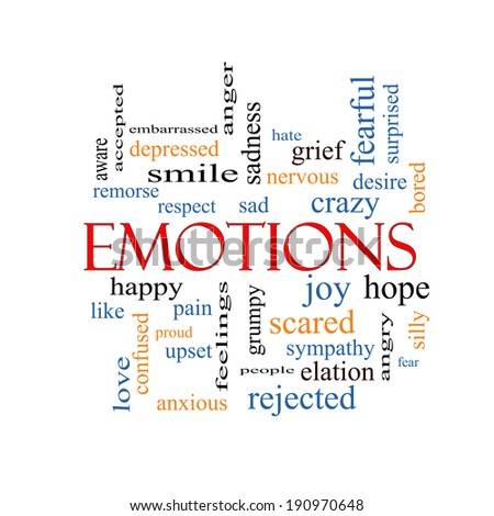 Emotions Word Cloud Concept with great terms such as sad, happy, joy and more. - stock photo