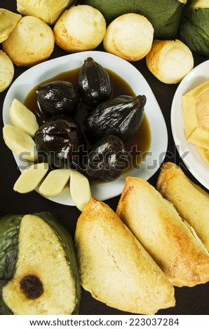 empanadas quimbolito and figs with honey traditional ecuadorian food - stock photo