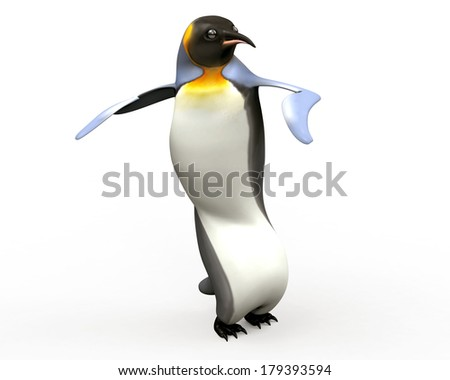 Emperor penguin , cartoon penguins , 3d render penguin isolated on white background