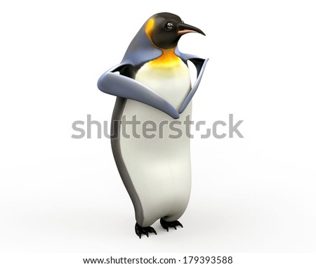 Emperor penguins , cartoon penguins , 3d render penguin isolated on white background