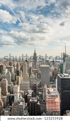 Empire State Building and Skyscrapers in Skyline of Manhattan New York City - Beautiful Cityscape of NYC in USA - stock photo
