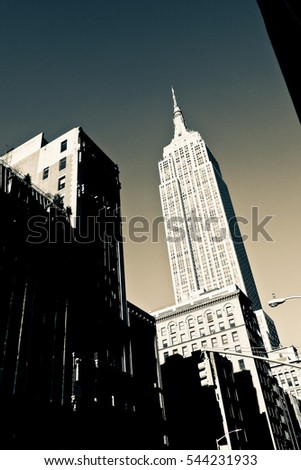 Empire state building, blue sky background, view from below