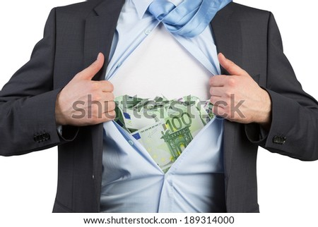 Employee and euro chest - stock photo