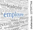 Employee and recruitment concept in word tag cloud on white - stock photo