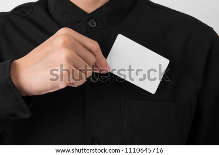 Employee catch blank business card pocket stock photo royalty free employee catch blank business card in pocket for mockup template logo branding background reheart Gallery
