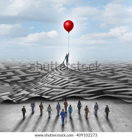Employee leadership solution and workforce leader management with a businessman holding a balloon lifting a complicated 3D illustration maze opened up for a group of employees.