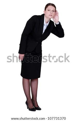 Employee listening carefully - stock photo