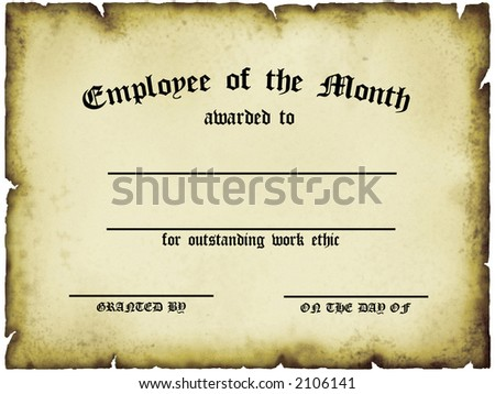Employee of the Month Certificate - stock photo